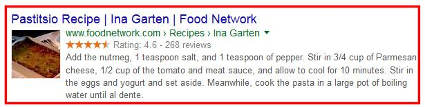 microformats rich snippets google structured data markup recipes